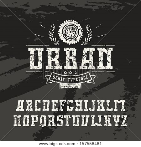 Rectangular serif font in urban style with shabby texture. White font on black texture background