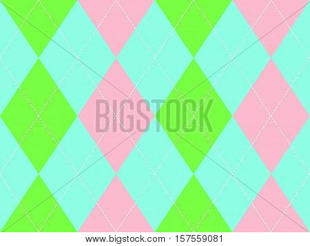 Sweet colors argyle seamless pattern. Flat design. Vector illustration.