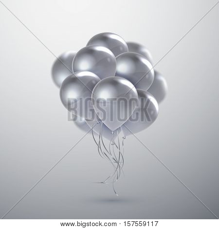 Vector festive illustration of flying realistic glossy balloons. White wedding balloon bunch. Decoration element for holiday event invitation design