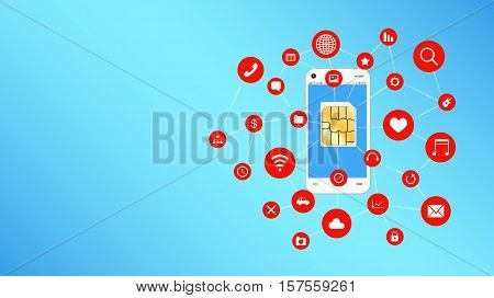 a smartphone and sim card with apps icon floating