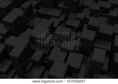 abstract black box random position background 3d rendering
