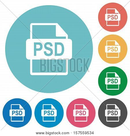 PSD file format white flat icons on color rounded square backgrounds