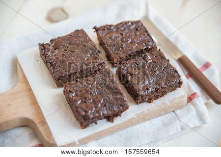 Home made freshly baked chocolate brownies on a table