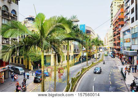 Macau - January 30, 2015: View On The Street In The Historic Centre Of Macau. Macau Is A Popular Tou