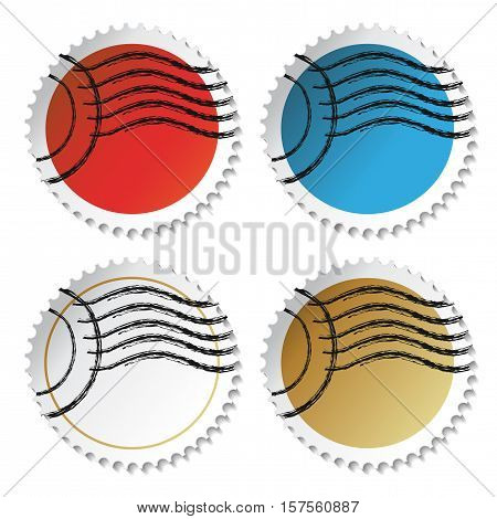 Vector rounded stamp stickers on white background - illustration