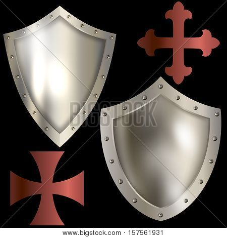 Heraldic shield with riveted border maltese and fleuree cross isolated on black background.