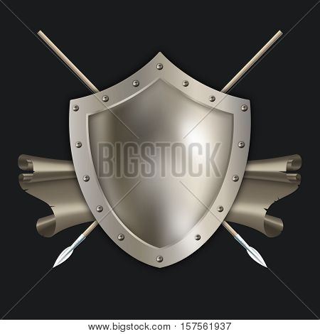 Antique riveted shield with two spears and scroll on black background.