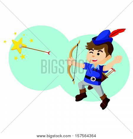Boy shooting star with arrow vector illustration design eps 10