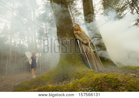 Two beautiful women in a fairytale like forest with heavy mist. One as an elf the other as fairy