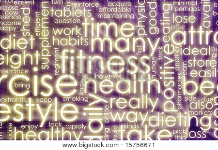 Health and Fitness List as Abstract Background poster