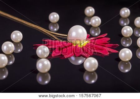 White pearls necklace on black background. Focus on the big pearl over red petals!