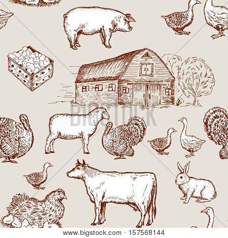 Farm animals seamless pattern cows geese chickens. Farm market pattern
