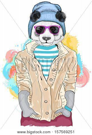 Hipster panda fashion animal illustration. Fashion portrait of hipster panda