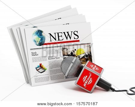 Newspaper and microphone isolated on white background. 3D illustration.