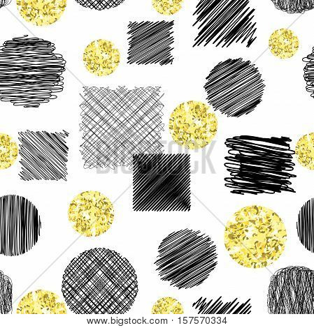 Abstract seamless pattern with black ink scribble circles and squares and circles with golden glitter foil texture. Hand drawn vector illustration