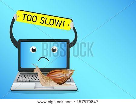 a snail on a slow laptop computer