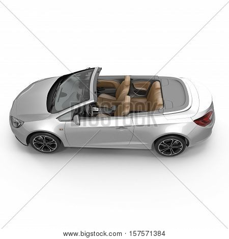 convertible sports car isolated on a white background. 3D illustration