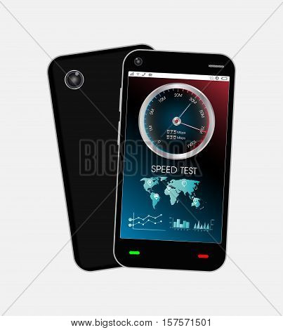 a black smartphone with speed test interface