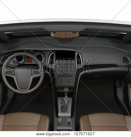 convertible sports car interior isolated on a white. 3D illustration poster