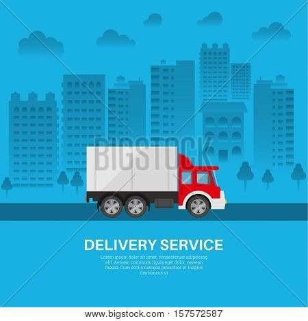 Cargo vehicle on the background of the city. A motor van of the delivery service in the residential massif. Fast transportation of goods. A vector illustration for posters posters in flat style.