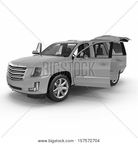 Silver Sports Utility Vehicle Isolated on White background. Doors opened. 3D illustration