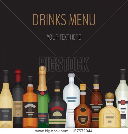 Card With Different Alcohol Bottle. Alcohol Drinks And Beverages.bar Menu. Flat Design Style, Vector