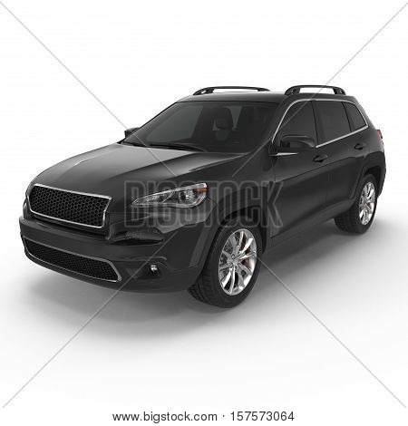 Black Sports Utility Vehicle Isolated on White background. 3D illustration