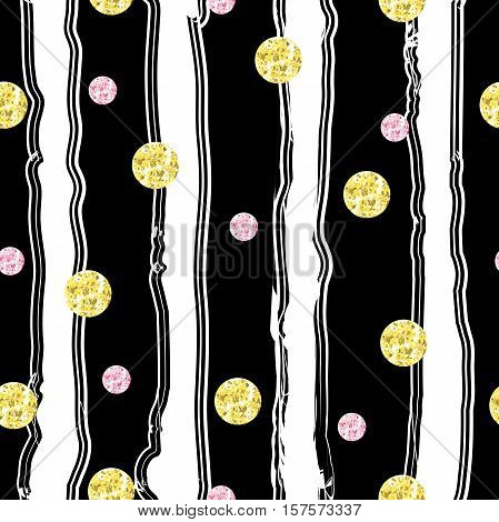 Vintage seamless pattern with circles with golden and pink glitter foil texture on black striped background. Abstract festive texture for Christmas and New Year. Hand drawn vector illustration