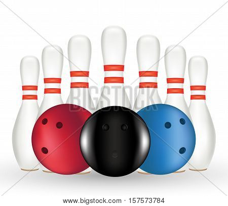 a Bowling and Bowling pin on a white background