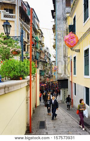 The Street In The Historic Centre Of Macau