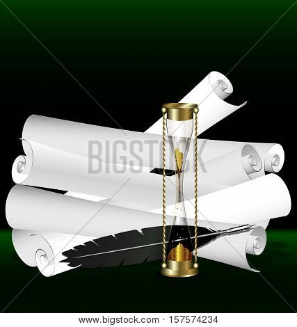 dark green background and retro scrolls of old paper, hourglass with black writting pen