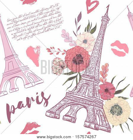 Paris. Vintage seamless pattern with Eiffel Tower, kisses, hearts and floral elements on white background. Retro hand drawn vector illustration in watercolor style.