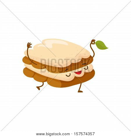 Funny tiramisu dessert character with a mint leaf, cartoon style vector illustration isolated on white background. Cute smiley tiramisu character with eyes, legs, and a wide smile