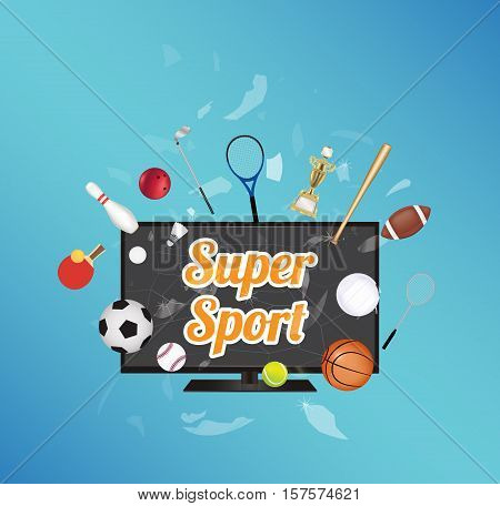 Super Sport on smart television screen with sport equipment floating on exploded smart television