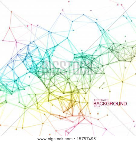 Plexus Lines And Particles Background. Vector Technology Illustration Of Spectrum Colored Polygonal Cyber Structure. Abstract Iridescent Digital Structure