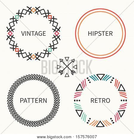 Day of the Dead frame set. Tribal hand drawn line mexican ethnic pattern. Border. Print. Doodles. Handmade native vector illustration. Aztec wreath. Texture. Collection for invitation, banner