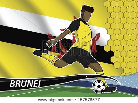 Vector illustration of football player shooting on goal. Soccer team player in uniform with state national flag of brunei.