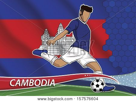 Vector illustration of football player shooting on goal. Soccer team player in uniform with state national flag of cambodia.