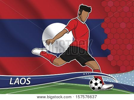 Vector illustration of football player shooting on goal. Soccer team player in uniform with state national flag of laos.