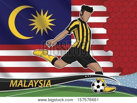 Vector illustration of football player shooting on goal. Soccer team player in uniform with state national flag of malaysia.