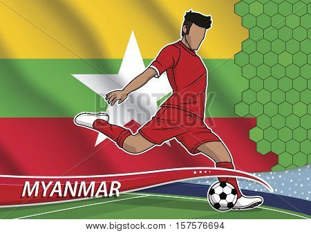 Vector illustration of football player shooting on goal. Soccer team player in uniform with state national flag of myanmar.