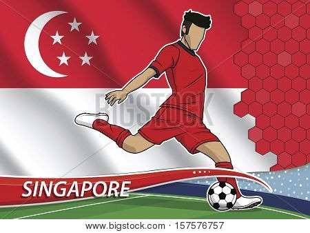 Vector illustration of football player shooting on goal. Soccer team player in uniform with state national flag of singapore.