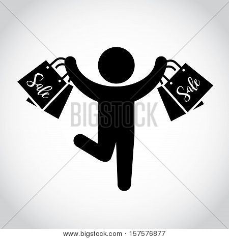 Stick figure man with shopping bags. Symbol or icon of shopper. Vector shopping pictogram.