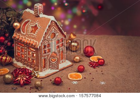 Gingerbread house with lights inside.