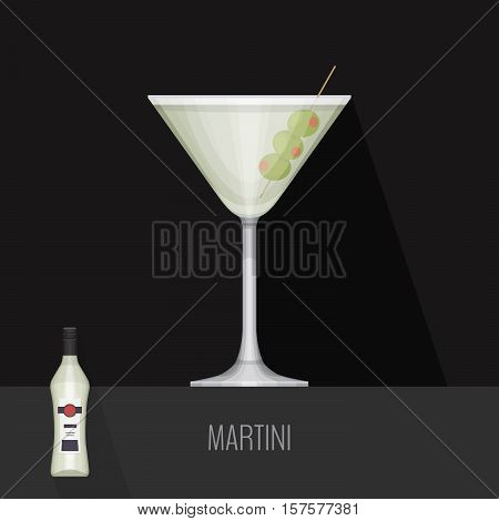 Glass Of Dry Martini With Olives On Black Background. Flat Design Style, Vector Illustration.
