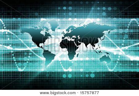 blau internationalen News-Update mit Globus Karte