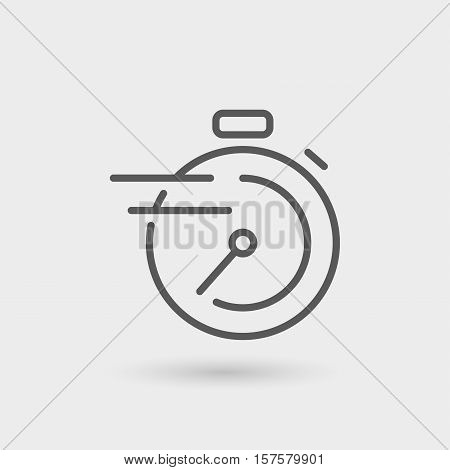chronometer fast service thin line icon black color isolated