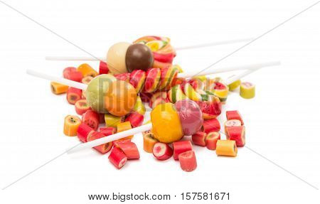 lollipops candy colorful on a white background