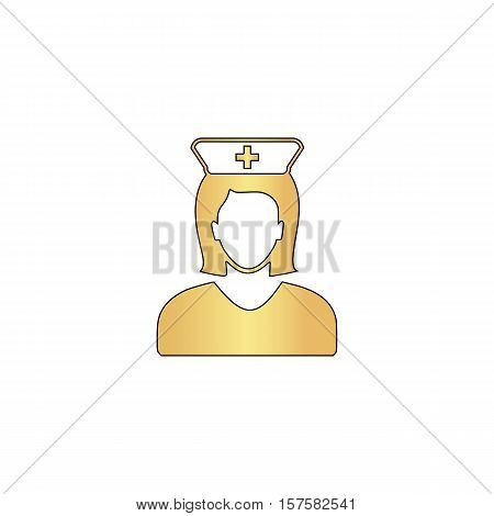 Nurse Gold vector icon with black contour line. Flat computer symbol