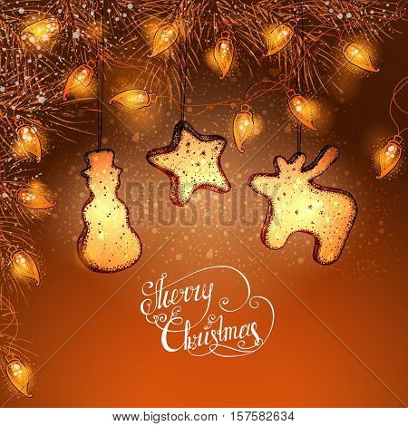 Christmas background. Fir-tree branches, luminous electric garland and ginger cookies. Vector illustration.